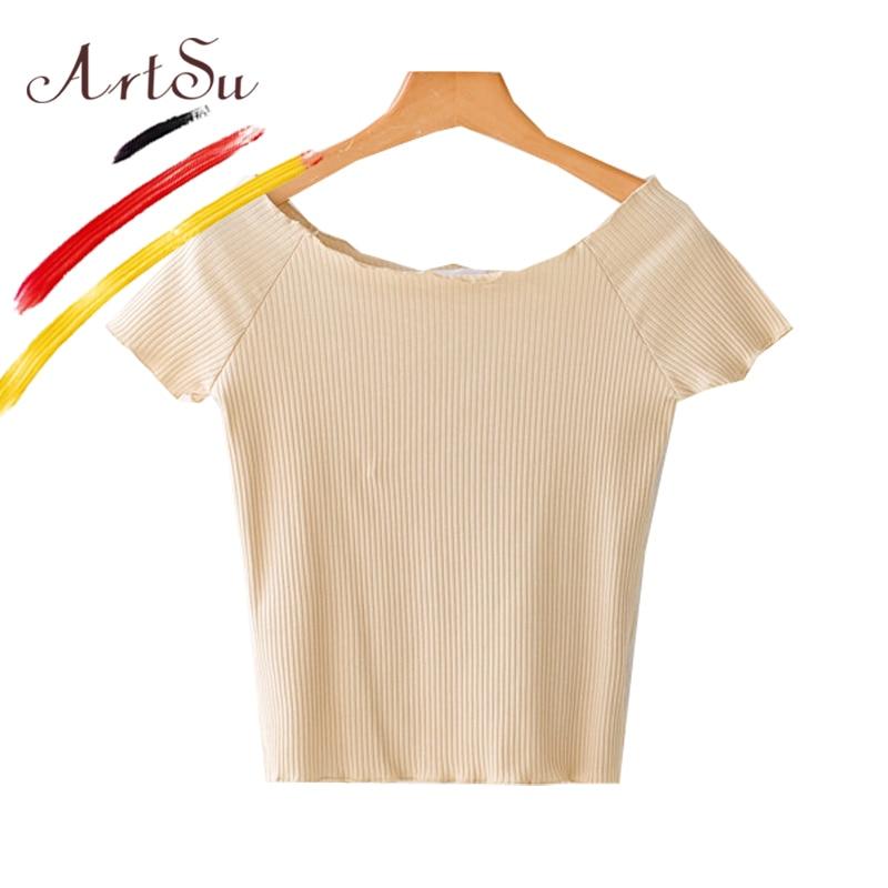 9aae7d19bd4 ArtSu Women Short Sleeve Plain T Shirt 2018 Summer New Girl's Knitted Crop  Top Short Tees Striped Shirt Casual Femme Top 9 Color