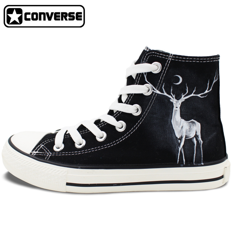 Winter Reindeer High Top Converse Hand Painted font b Shoes b font Custom Design Canvas Sneakers