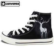 Winter Reindeer High Top Converse Hand Painted Shoes Custom Design Canvas Sneakers Unique Gifts for Men Women