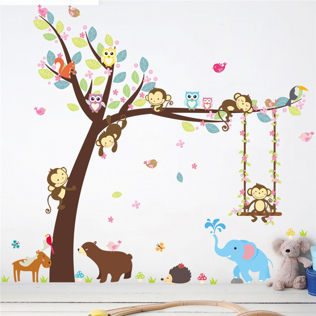 Jungle Wild Forest Animals Elephant Monkey Tree wall stickers for kids room-Free Shipping elephant wall stickers For Bedroom For Kids Rooms tree wall decal