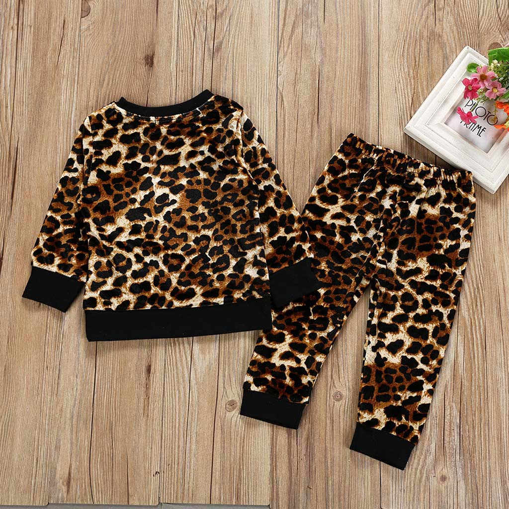 children's clothing girl Long Sleeve Leopard Print clothes set Tops T-shirt Pants Outfits Set autumn suit tracksuit for girls #T