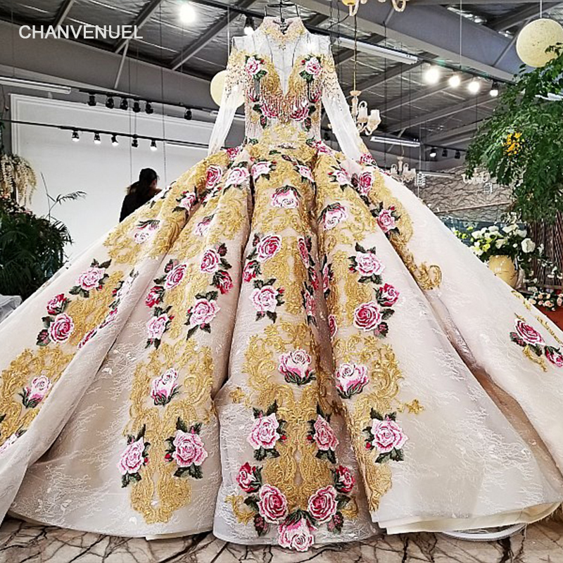 LS78452 100% real pictures 2018 new formal gown show size custom transparent high neck long sleeves muslim golden   evening     dress