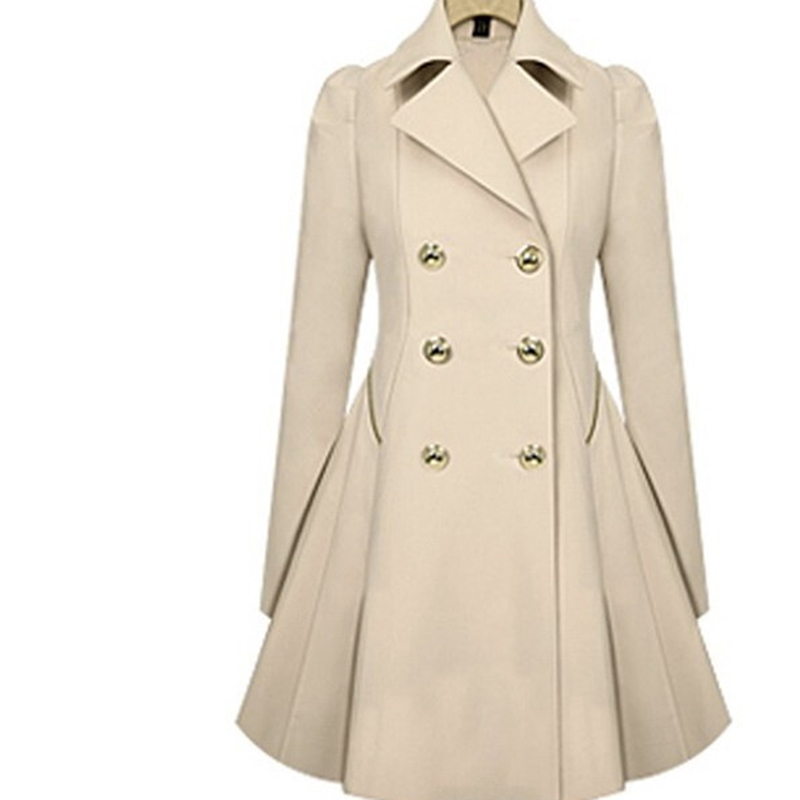 Women Trench Coat Spring Double Breasted Long Sleeve Ladies Trench Lapel Windbreaker Long Slim Autumn Coats Outerwear NQ829219
