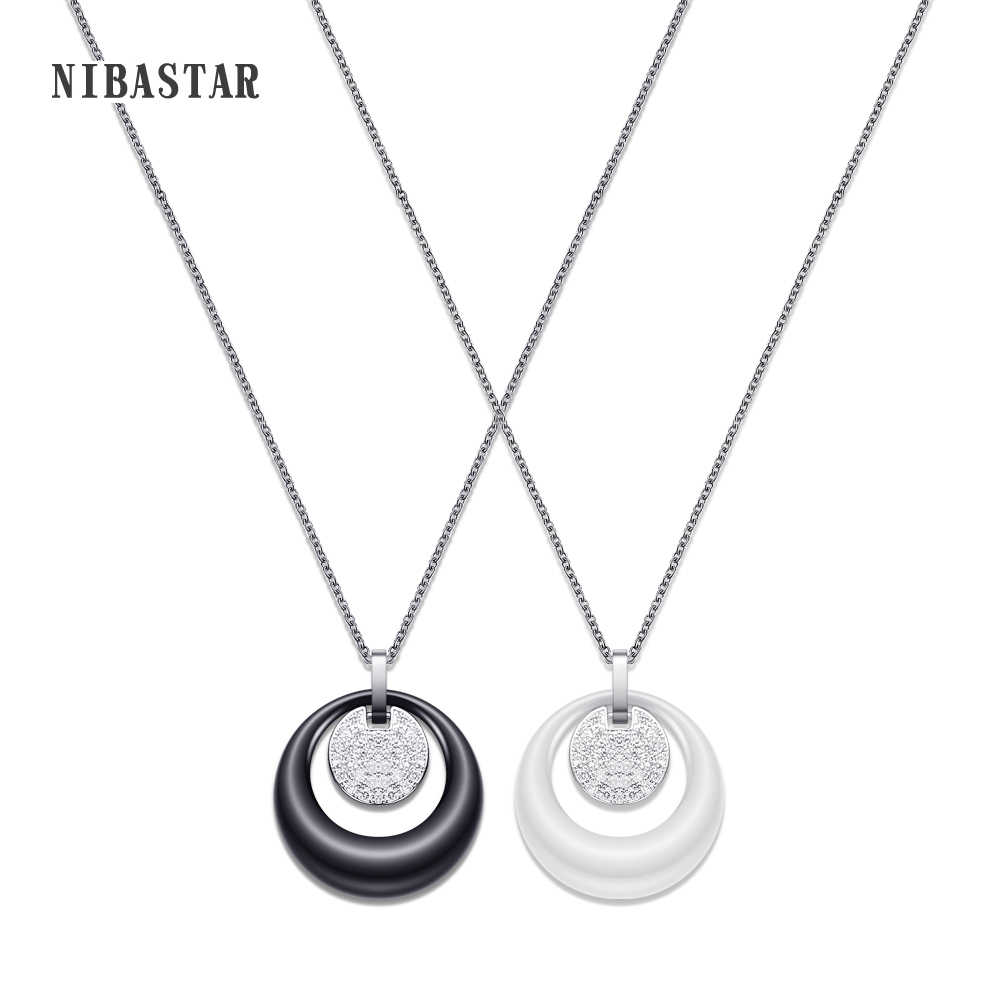 New Fashion Double Layers Circle Ceramic Pendant Necklace With AAA Cubic Zirconia Black and White Ceramic Necklace for Wedding
