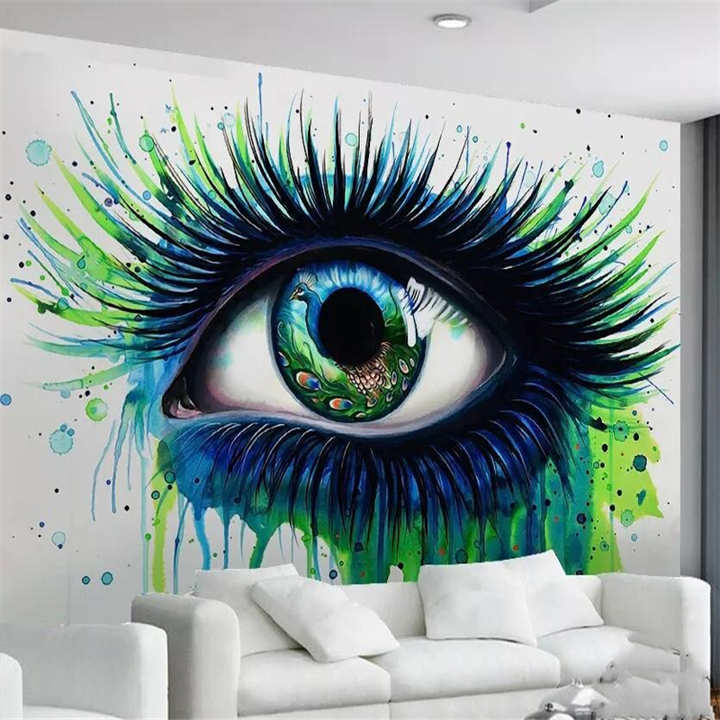 Us 9 0 40 Off Beibehang Custom Living Room Bedroom Mural Hd Peacock Blue Eyes Eyelashes Painted Abstract Oil Painting Background Wall In Wallpapers