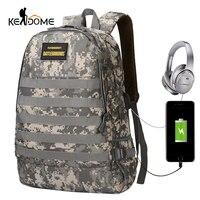 35L Taktik Askeri Sırt Çantası Molle Camo Dijital 16 inç Laptop Sırt Çantası USB Şarj Kulaklık Delik Oyun spor çantaları XA494WD