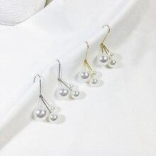 2019 New arrival Summer natural long tassel shell pearl dangle drop earrings silver & rose gold 925 for women fashion jewelry недорого