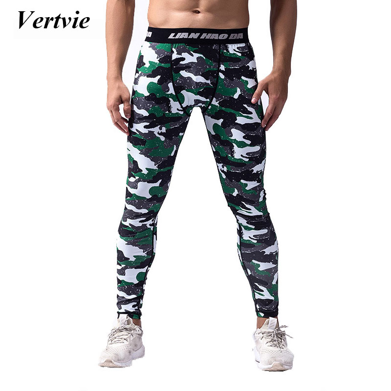 Vertvie Camouflaged Running Leggings Tights Men High Elastic Breathable Active Sport Pants Quick Dry Compression Trousers Autumn