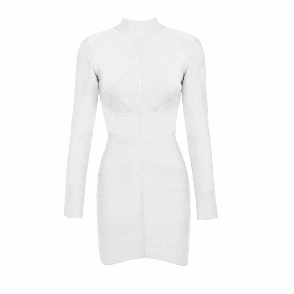 De Nouveau Haut Bandage Vistido Celebrity Élégantes Moulante Longues Manches Blanc Soirée Mode Robes Col Femmes À 2018 Robe n8OXPkZNw0