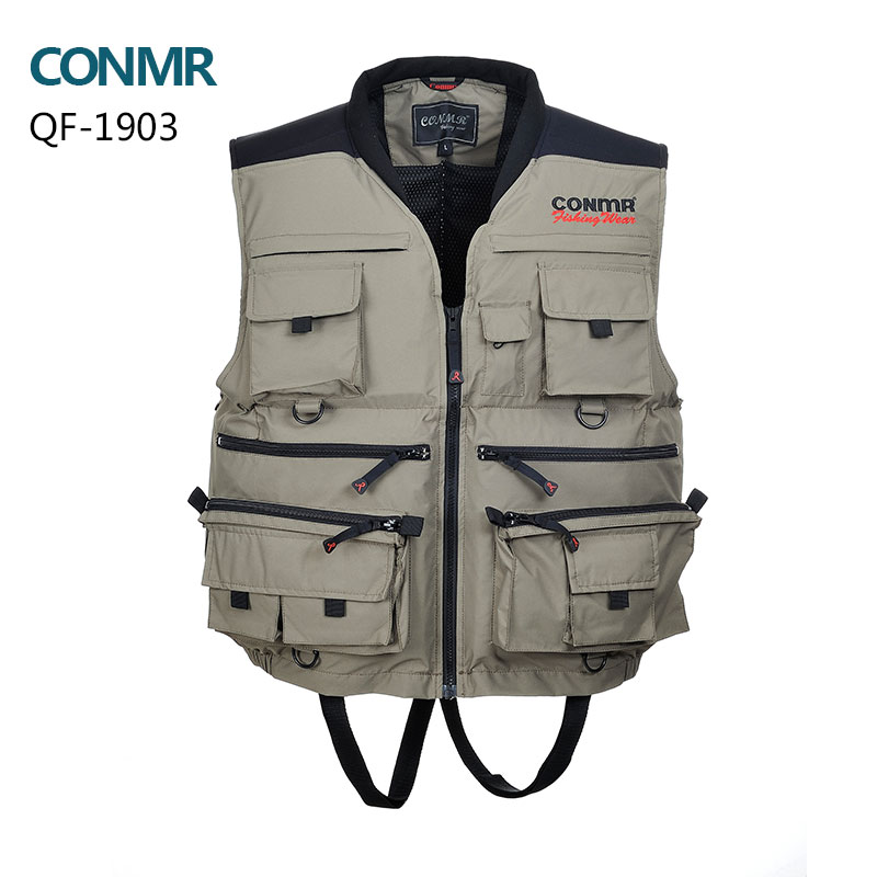 Men Fishing life vest professional fishing clothes multi-pocket waterproof Floating waistcoats YKK zipper Lifesaving whistle professional multi pocket fly fishing vest sleeveless waterproof life rescue jacket outdoor photography clothing sea wear shirts