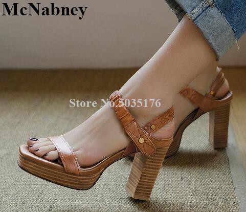 e9bb21f63cf High Heels Women Strap Vintage Gladiator Sandals Thick Platform ...