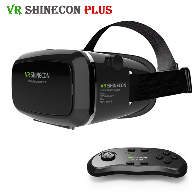 Original VR Shinecon Plus Pro Update Cardboard Helmet VR BOX Headset for 4-6' Mobile Phone + Original Bluetooth Remote Control