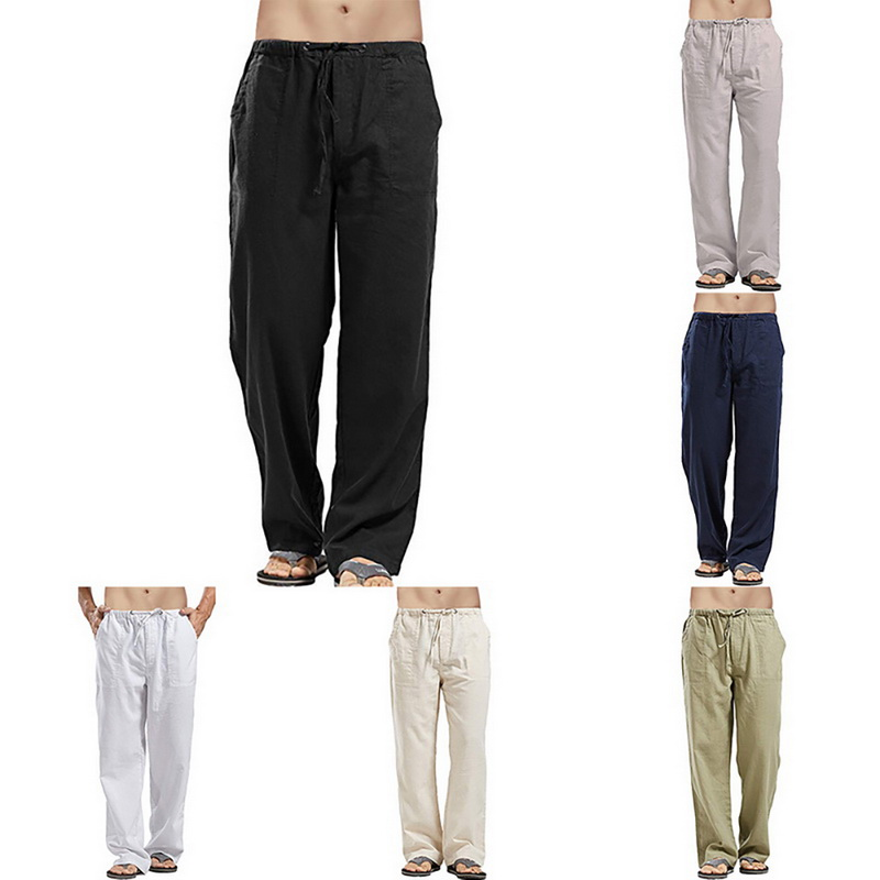 HEFLASHOR Men Loose Casual Pants Spring Autumn Solid Trousers White Linen Elastic Waist Straight Man's Comfortable Sweat Pants