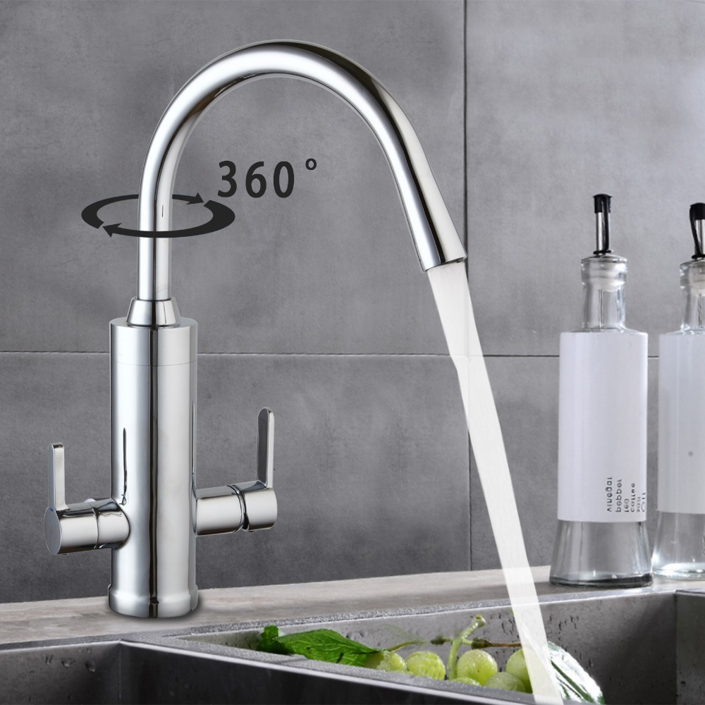 Polished Chrome Kitchen Faucet Hot&Cold Water Mixer Tap Twin Handle Two Spout Water Purifier 360 Degree Swivel Sink Faucets led spout swivel spout kitchen faucet vessel sink mixer tap chrome finish solid brass free shipping hot sale