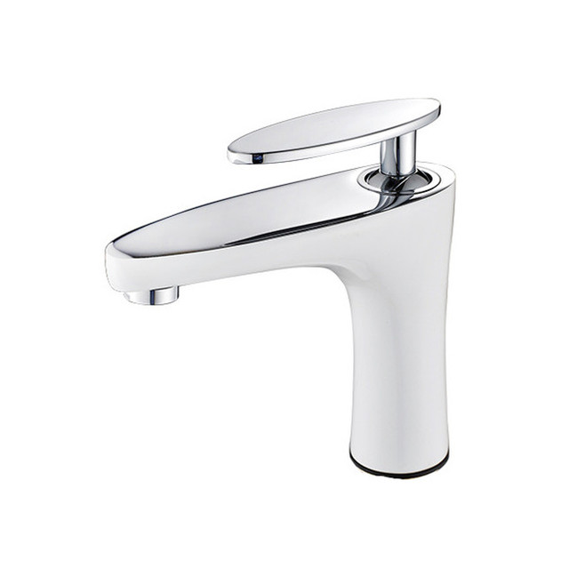 2017 Wholesale Promotion Solid Brass White Bathroom Sink Faucet Wash ...