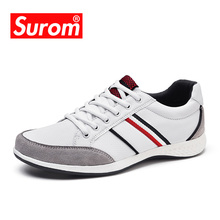 SUROM Summer Men's Shoes Breathable Leather Mesh Casual Shoes Men Luxury Brand Fashion Footwear Men Autumn Shoes Sneakers