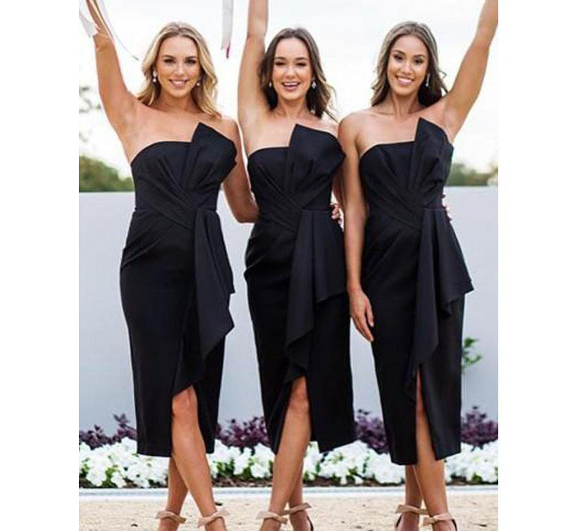 2019 Short Black   Bridesmaid     Dresses   Strapless Ruffles Asymetrical Split Trumpet Maid of Honor   Dresses   Tea-length Women Gowns