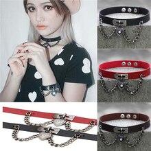 Punk Gothic Metal PU Leather Choker Necklace Collar Heart Chain Pendant Rivet Buckle for women цена в Москве и Питере