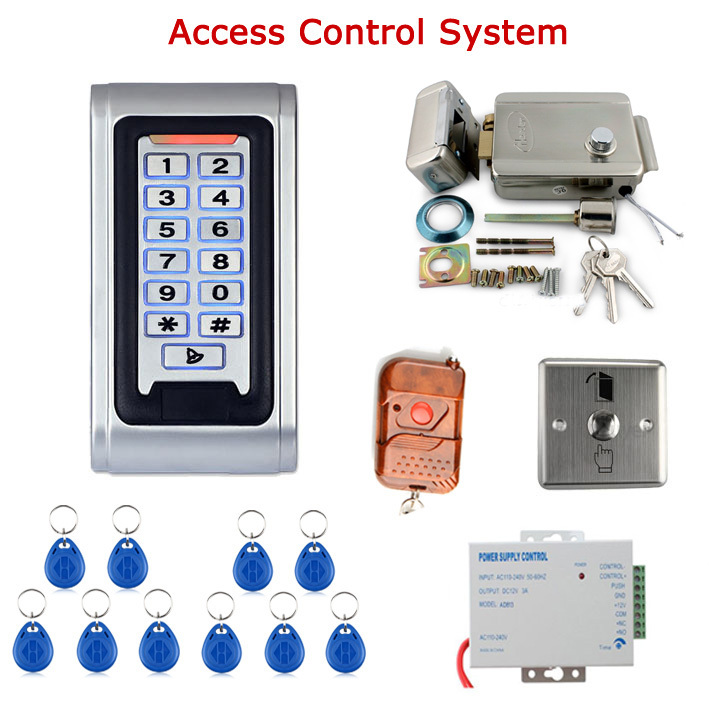Door Access Control Controller Security System Kit Rfid Card Password Keypad Remote Control Electric Door Lock Exit Button 6000 user password door access control system door exit