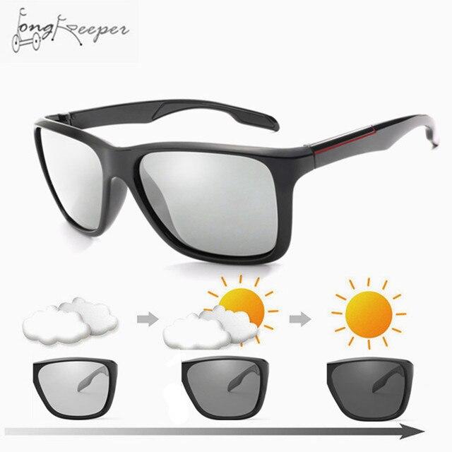 c943efcfbe287 2018 marca óculos de Sol Fotocromáticas Chameleon Descoloração Óculos de Sol  Dos Homens Polarizados Ciclismo Biking