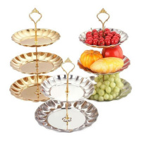 Hot Sale 2 3 Tier Cake Stand Metal Buffet Dessert Cupcake Fruit Food Platter Serving Display