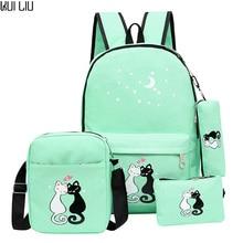 купить Women Backpack Schoolbag 4 pcs set lovely Cute Cartoon Cat Print School Bag Backpacks for Teenage Girls Daypack Rucksack Moclila дешево