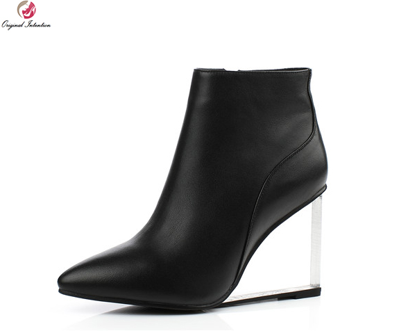 Original Intention Super Cool Women Ankle Boots Pointed Toe Strange Style Heels Boots Black Yellow Shoes Woman US Size 4-9.5