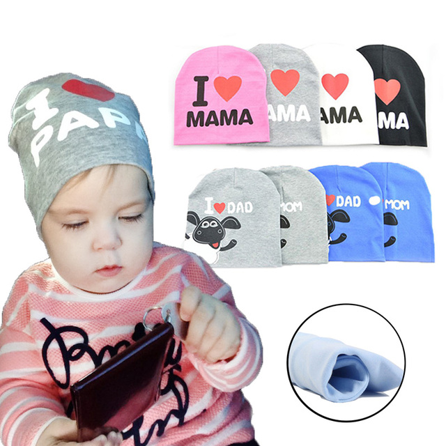 Baby Hats Knitted Warm Cotton Toddler Beanie Baby Girl Boy I LOVE DAD MAMA Kids   Cap Girl Boy Photography Bonnet Kids Hat