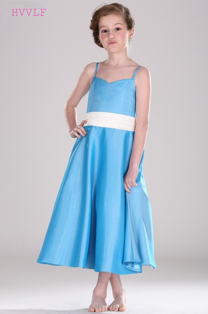 Sky Blue 2019   Flower     Girl     Dresses   For Weddings A-line Spaghetti Straps Chiffon Bow First Communion   Dresses   For Little   Girls