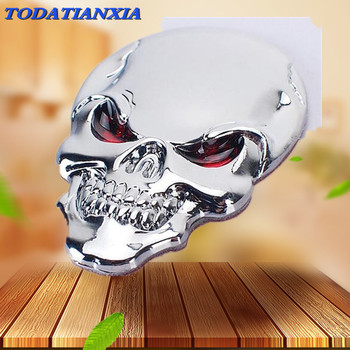 3D Metal Skull Car Sticker Logo Emblem Badge for bmw z3 vw golf 5 alfa romeo 159 bmw r1200gs opel vectra c mercedes w205 image