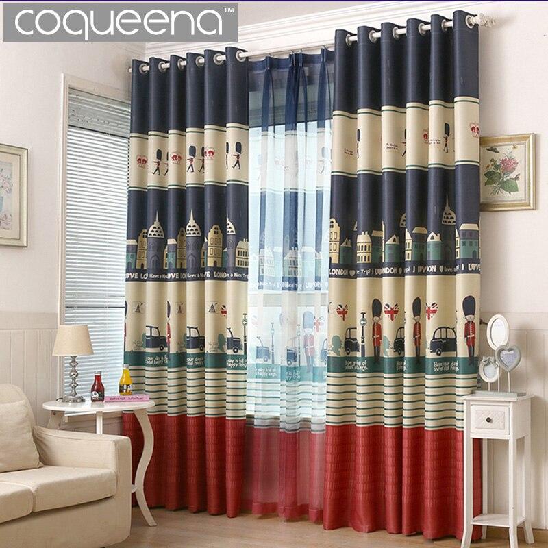 cartoon london design curtains for boys bedroom living room kids baby room window curtains door curtain panel blinds shades