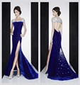 Sexy Royal Blue Stage Shown Dress Backless Off The Shoulder Vestidos 2016 Shining Beaded Crystal Celebrity Dress 2429