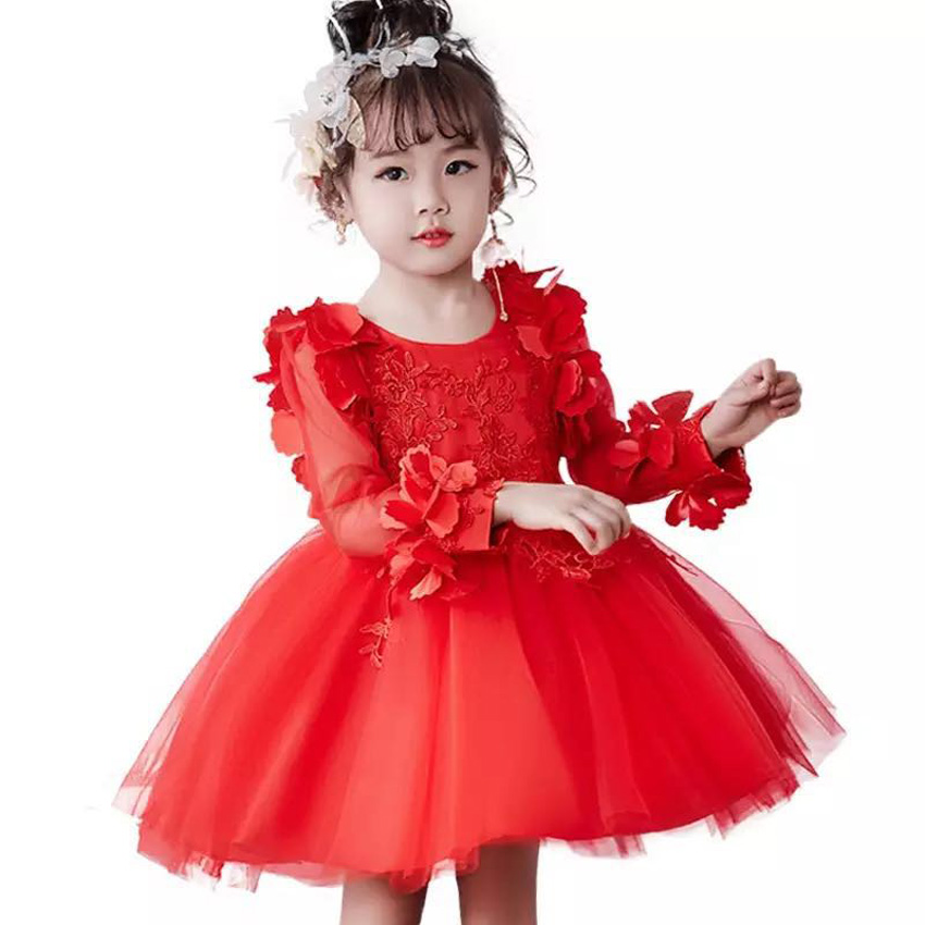 Elegance Children's Wear Girls Dress Tulle Mesh Pearls Princess Long Sleeve Flower Wedding Gowns Formal Prom Vestidos Kids Gifts
