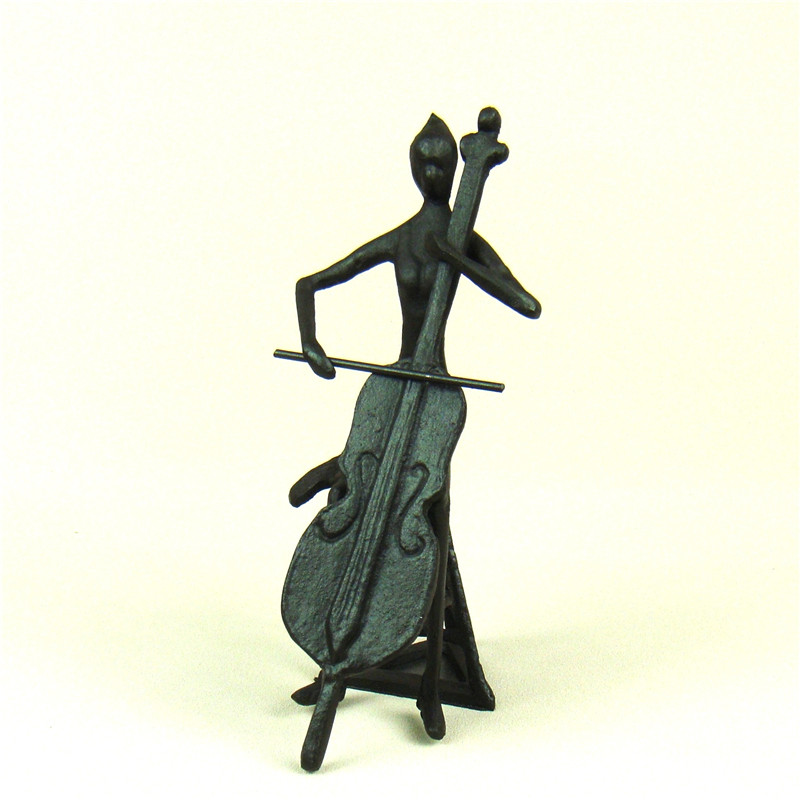 f97b7cd1ceb5 Cast Iron Woman Cello Player Character Sculpture Abstract Metal Musician  Gift Craft Adornment for Home Decor and Art Collection