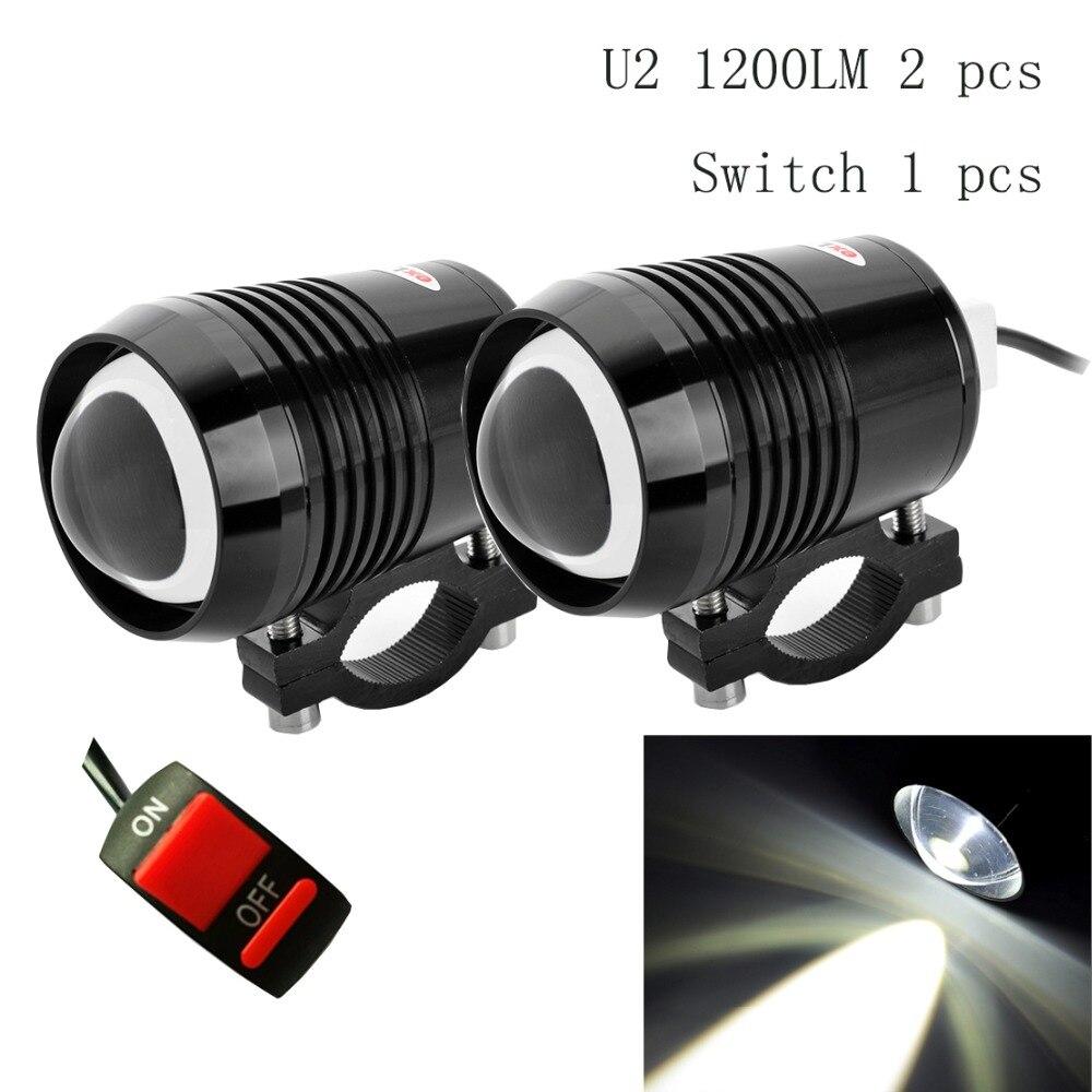 2 pcs Moto Phares 12 v 6500 k moto Projecteur U2 1200LM LED Lumières De Conduite auxiliaires Moto Phare moto brouillard lampe DRL