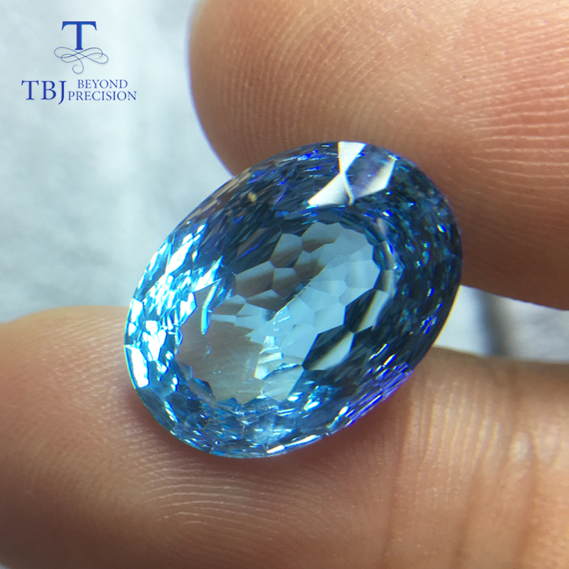 Tbj natural sky blue topaz oval 12 16 Bird nest cutting 10 7ct natural loose gemstone