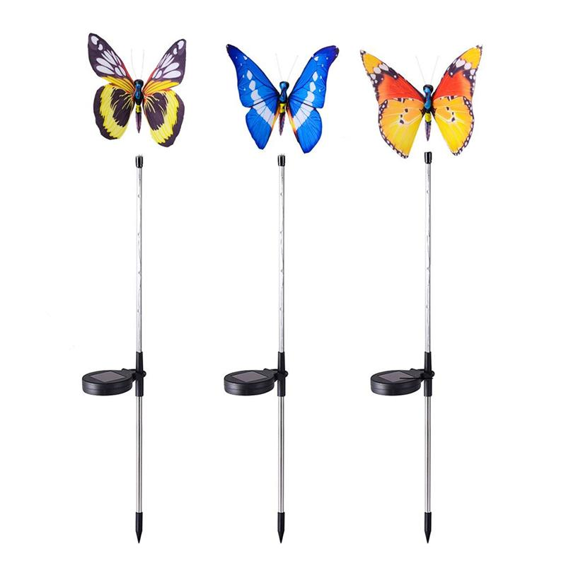 3pcs Garden Solar Lights 5LED Outdoor Butterfly Solar Stake Garden Light (Black + Blue + Orange)
