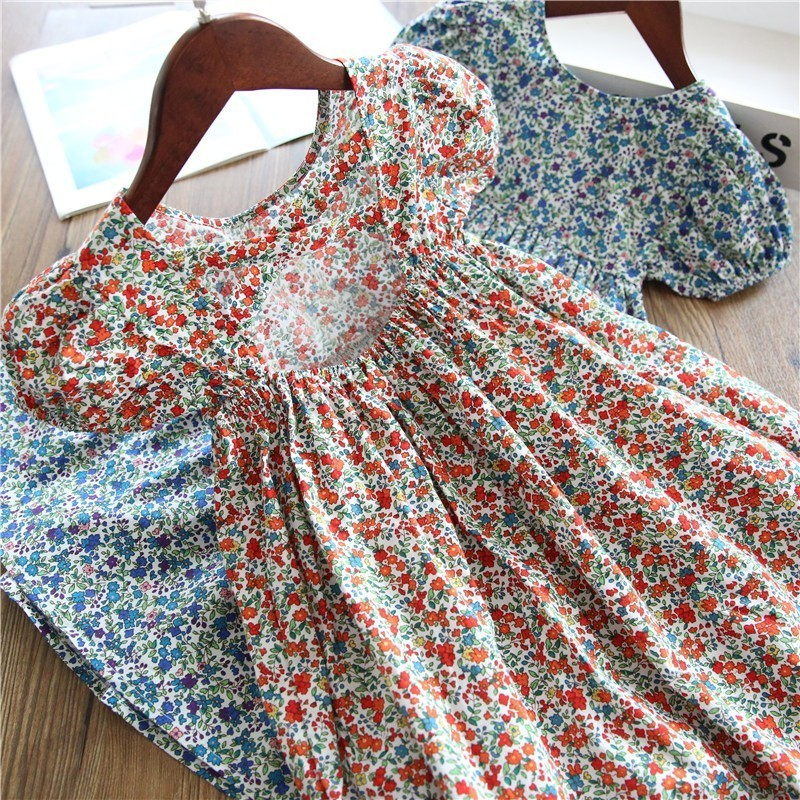 summer girl flower girls dress long hollow out back fashion baby frock wedding kids dresses for girl's clothing holiday children