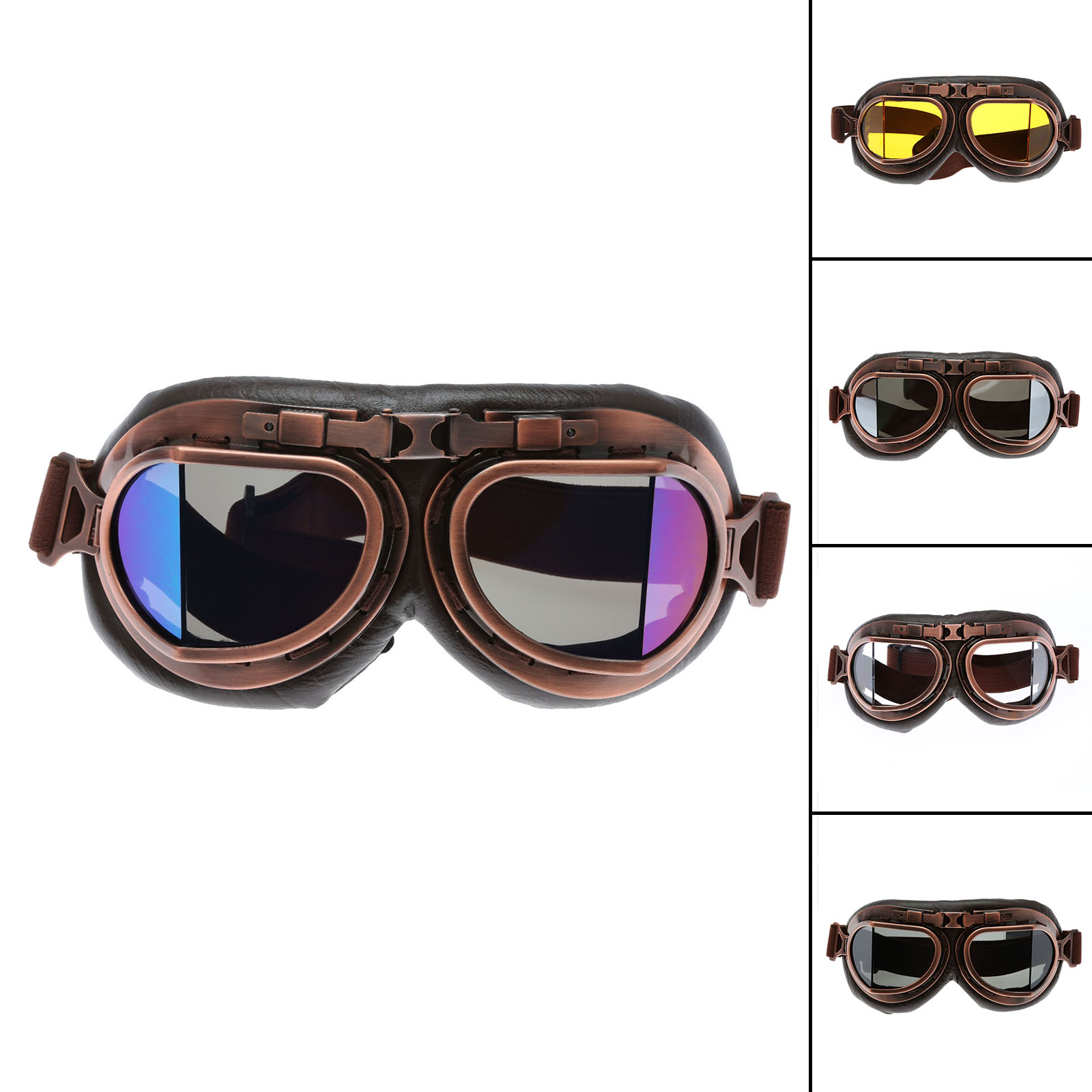 Motosikal Goggle Glasses Vintage Motocross Goggles Classic Retro Aviator Pilot Cruiser Steampunk ATV Bike UV Protection Copper