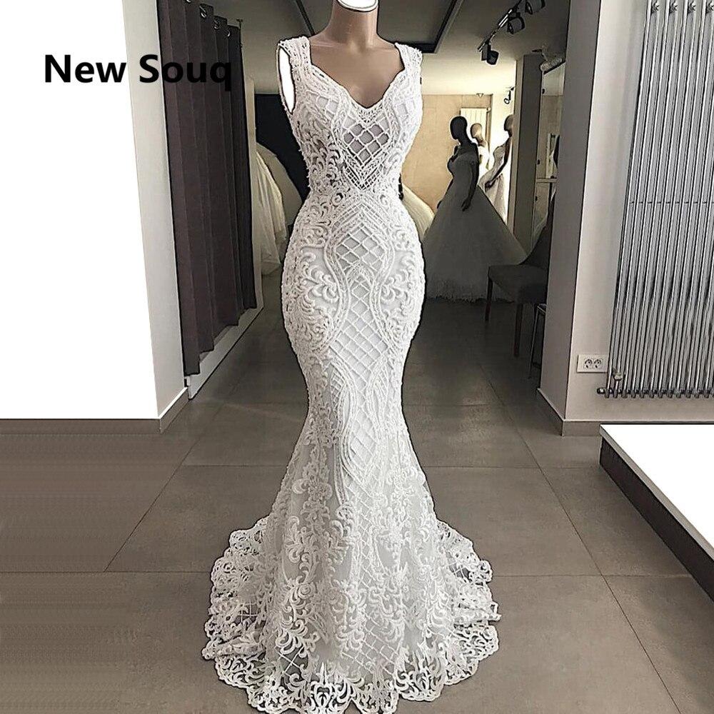 2019 Stylish Lace Mermaid Wedding Dresses Sexy V Neck