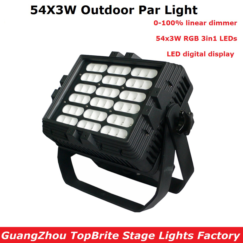 Newest Outdoor 54X3W RGB Full Color LED Par Light IP65 DMX Waterproof Par Cans Professional Stage Lighting Dj Disco Party Lights 2pcs lot led par cans 54x3w rgb 3in1