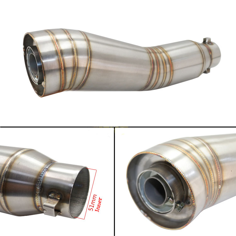 Motorcycle modified exhaust pipe exhaust pipe S type GP MP imitation stainless steel pipe Moto universal MT03 MT07 MT09 MT10 R1 for modified exhaust motorcycle silencer exhaust pipe fiber stainless steel universal 36 51mm for suzuki hayabusa gsxr1300 gsxr7