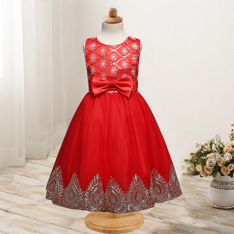 Red New Summer Flower Kids Party Dresses For Weddings Formal Princess Girl Evening Prom Sleeveless Girl Bow Mesh Dress Clothes red new summer flower kids party dresses for weddings formal princess girl evening prom sleeveless girl bow mesh dress clothes