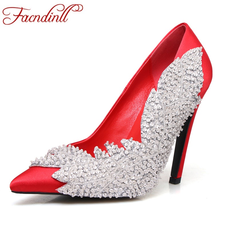 FACNDINLL 2018 new rhinestone sexy high heels shoes women pumps pointed toe woman crystal dress party wedding shoes big size 43 luxury crystal wedding shoes pointed toe high heels sexy party pumps stiletto vintage white flowers big size 43 34 transparent