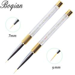 BQAN brosse à ongles 7/11mm cristal acrylique ongles Art brosses UV Gel peinture ligne brosse Nylon stylo à cheveux manucure ongles Liner outils