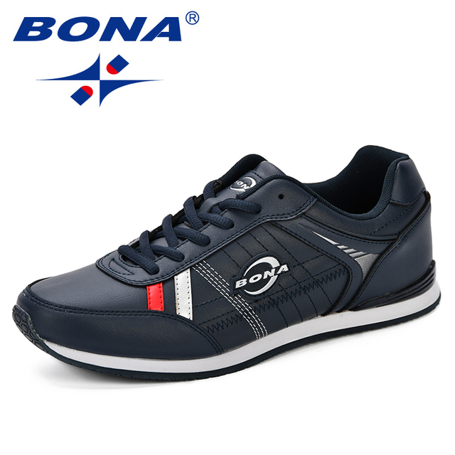 BONA Autumn Leather Sports Shoes Youth Men Trendy Comfortable Running Shoes Korean Version Men's Outdoor Jogging Sneakers Shoes