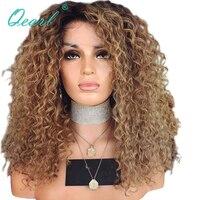 Glueless натуральные волосы Синтетические волосы на кружеве парики для Для женщин странный вьющиеся афро бразильский Волосы remy Ombre Цвет с темны