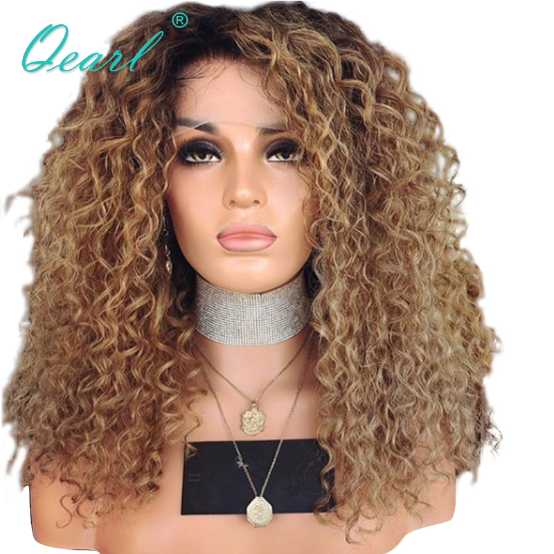 Sans colle Cheveux Humains Avant De Lacet Perruques Pour Les Femmes Crépus Bouclés Afro Brésilienne Remy Cheveux Ombre Couleur foncé avec Des Racines 13x4 Qearl