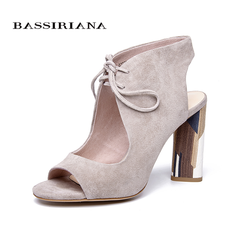 BASSIRIANA nouveau Véritable daim en cuir super haute talons Sandales Femmes peep-toe gladiateur lacent été noir beige 35 -40 taille