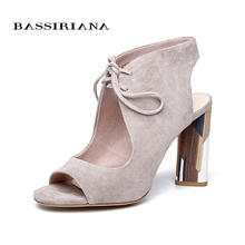 BASSIRIANA  Genuine Suede Leather  Peep-Toe Gladiator Lace Up  Black and Beige Sandal